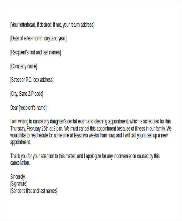 dental appointment cancellation letter