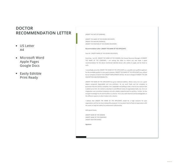 doctor recommendation letter template