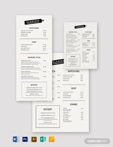 elegant event menu template