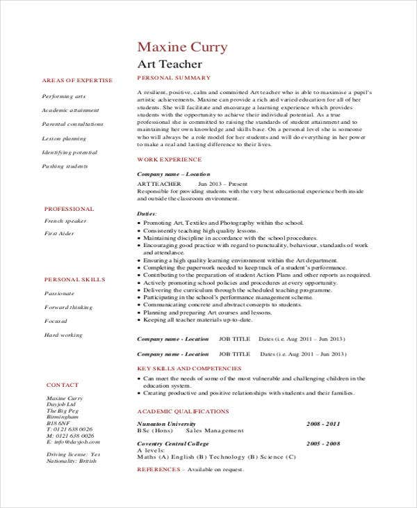 elementary school art teacher resume1