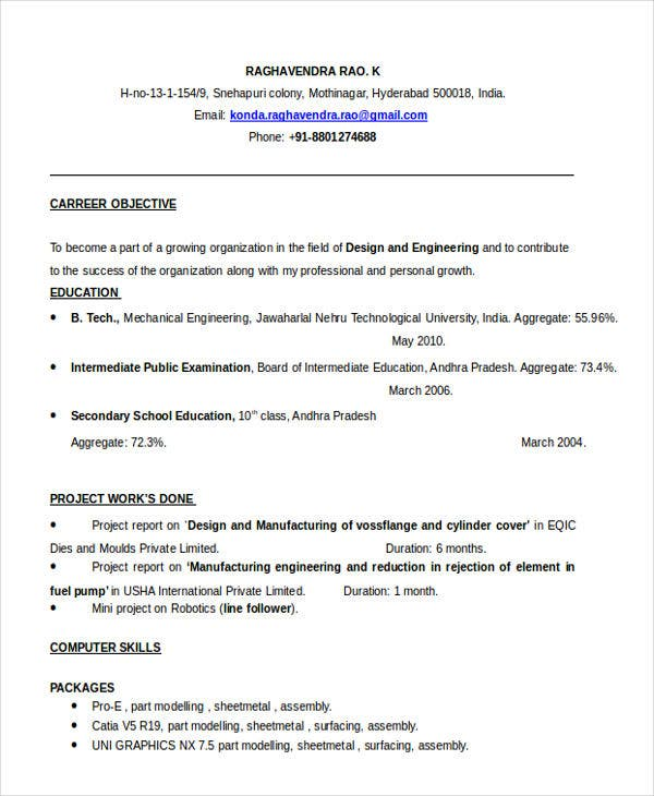 resume for fresh graduate engineer