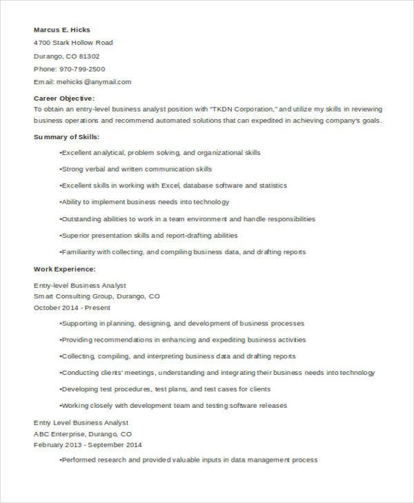 Entry-Level-Business-yst-Resume11 Targeted Resume Sample Doc on targeted resume education, targeted cv samples, cover letter samples, targeted resume template word, types of resumes samples, targeted resume for customer service associate, targeted resume examples for horticulture, targeted case manager resume, targeted resume style, curriculum vitae samples,