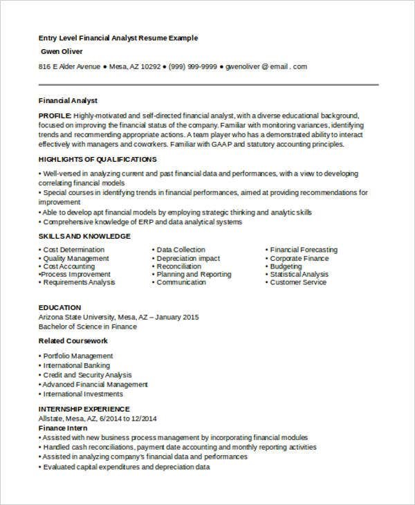 Best Finance Resume Templates- 31+ Free Word, Pdf Documents