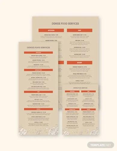event menu template