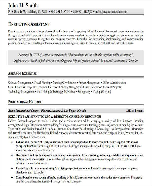 executive assistant resume example1