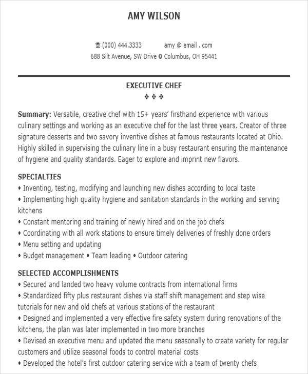 executive chef resume sample2