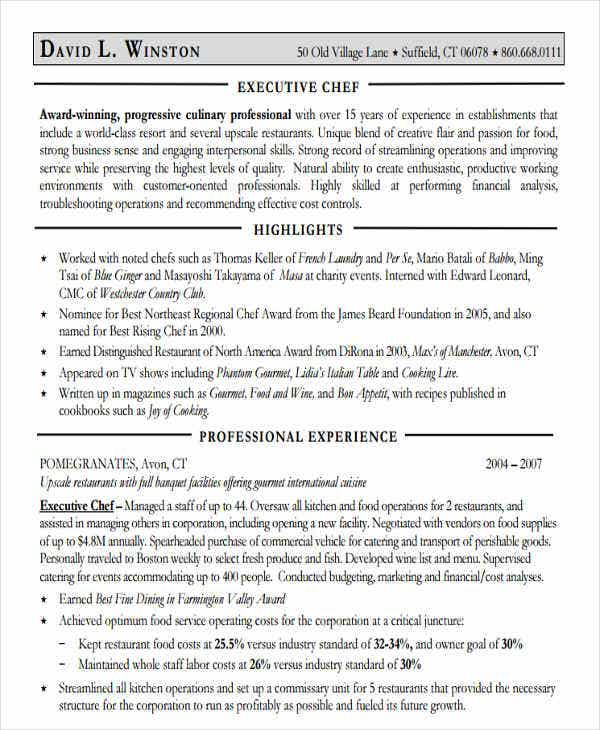 executive chef resume in pdf