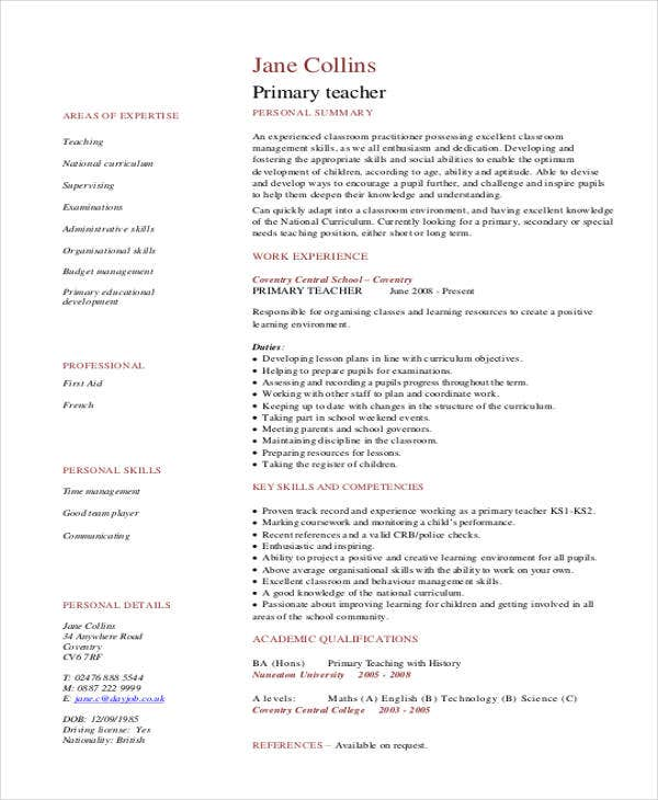 experienced primary teacher resume4