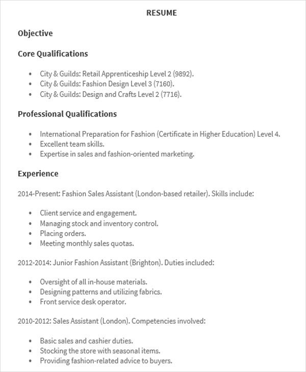 Fashion Sales Assistant  Retail Skills For Resume