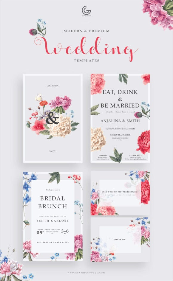 floral wedding invitation template download