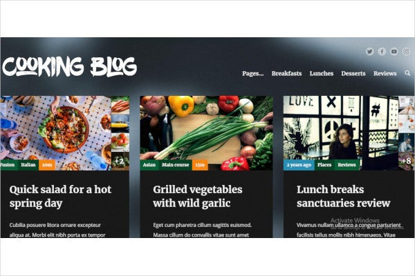 food recepies wordpress theme