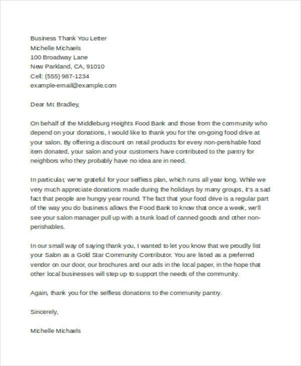 formal business thank you letter example1