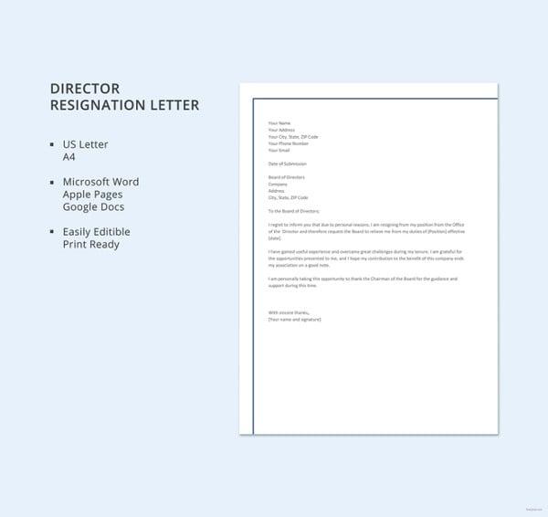 formal director resignation letter template
