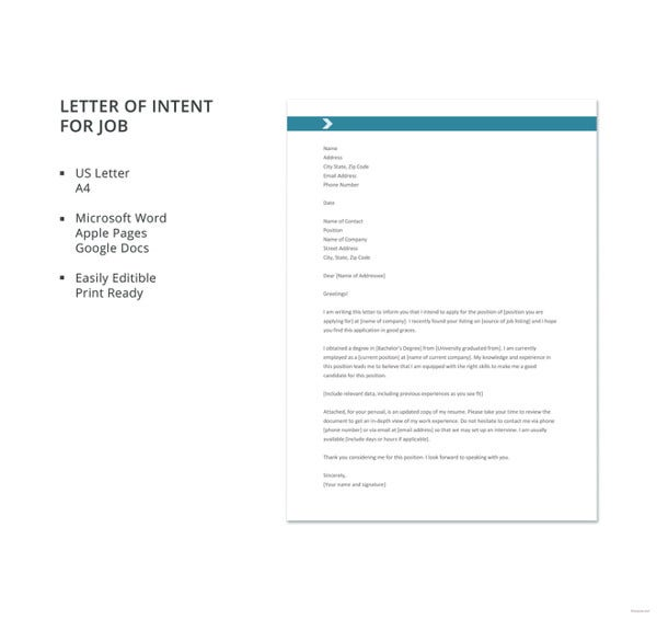 formal letter template of intent for job