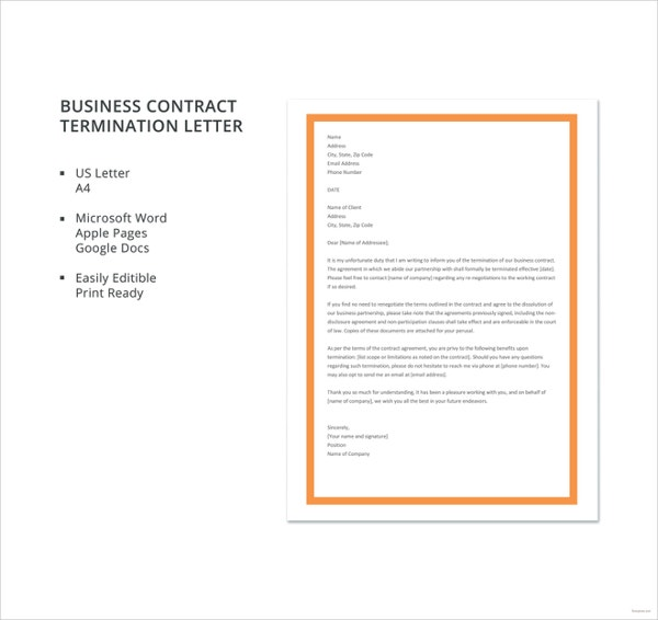 free business contract termination letter template