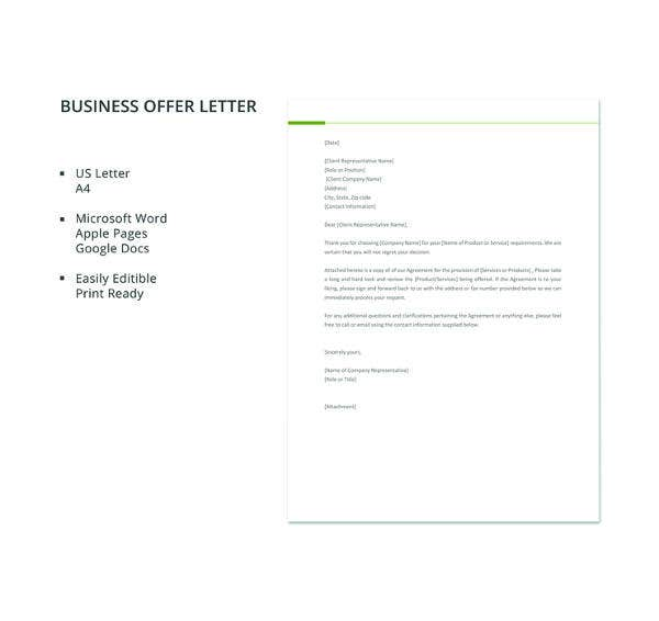 free business offer letter template