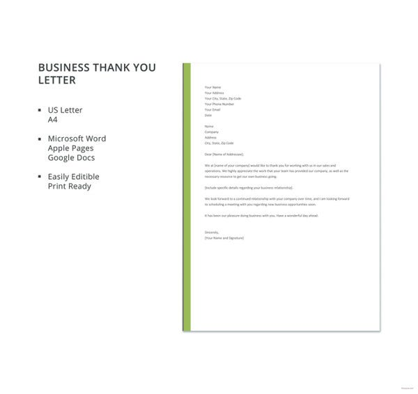 free business thank you letter template