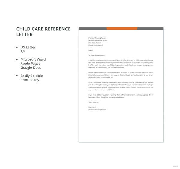 free-child-care-reference-letter-template
