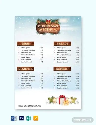 free christmas party menu card template