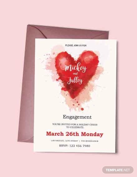 free colorful engagement invitation card template