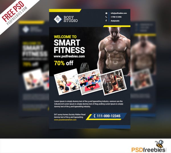 free fitness workout in psd