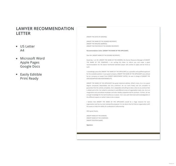 free-lawyer-recommendation-letter-template
