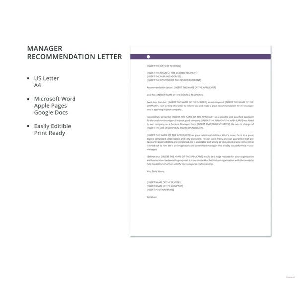 Free Formal Manager Recommendation Letter