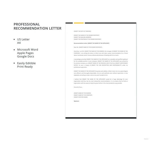 free-professional-recommendation-letter-template