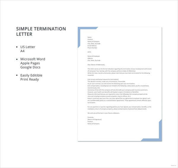 free simple termination letter template1