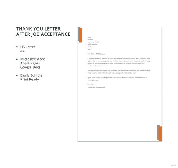 free thank you letter after job acceptance template