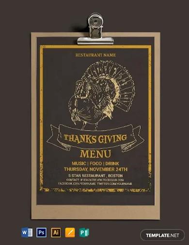 free thanksgiving restaurant party menu template