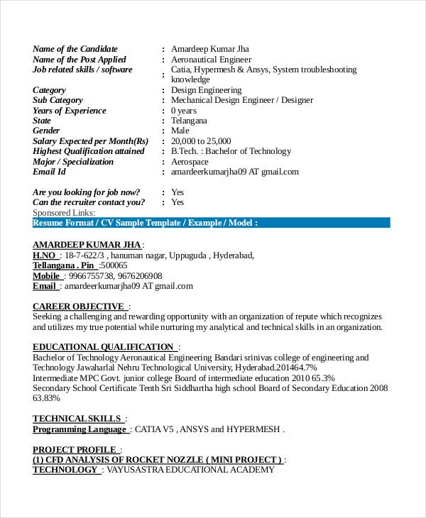 aeronautical engineer fresher resume - Sample Resume For Aeronautical Engineering Fresher