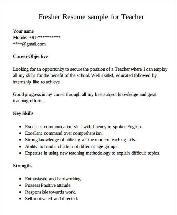 Fresher Resume Sample For Teacher  New Teacher Resume Examples