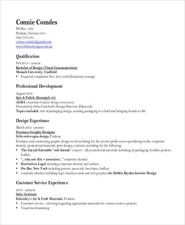 graphic designer resume in pdf