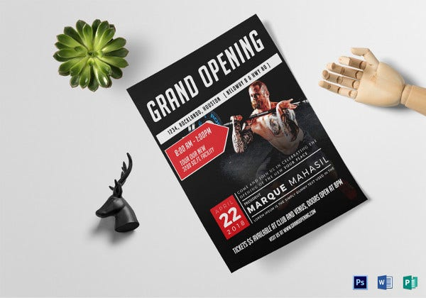 gym grand opening flyer template