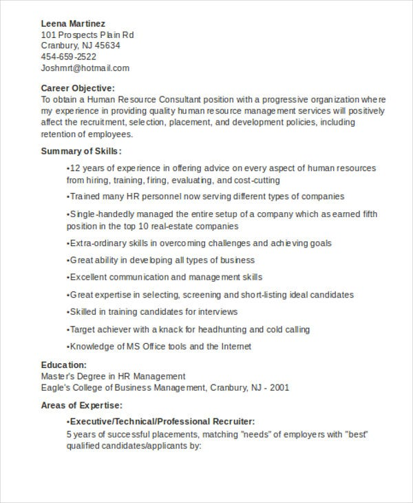 hr consultant resume template1