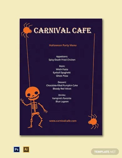 halloween party menu template