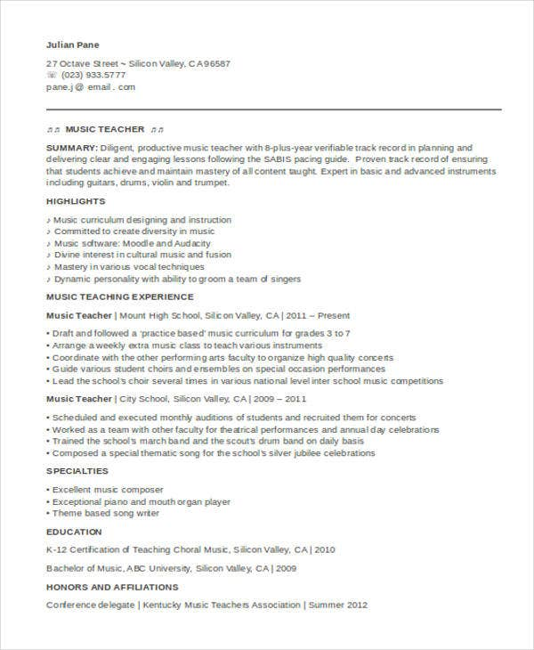 35  printable teacher resume templates