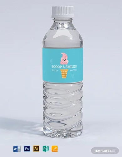 ice cream shoppe water bottle label template
