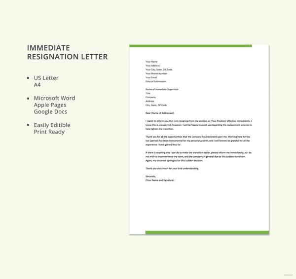 immediate resignation letter template2