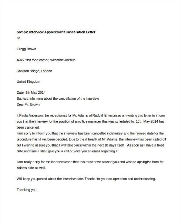 Appointment cancellation letter template 6 free word pdf format sample interview appointment cancellation details file format altavistaventures Images