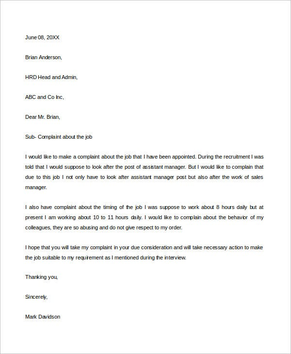 job complaint letter