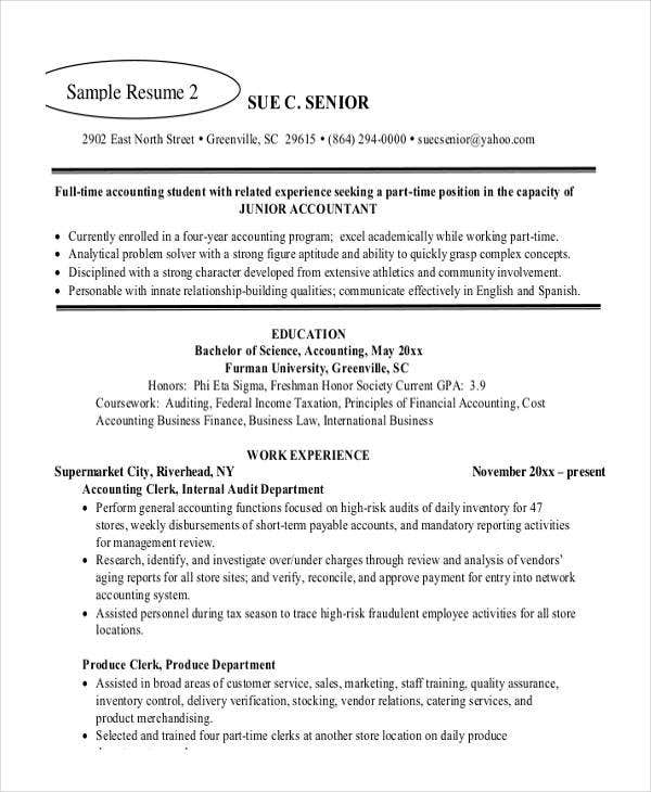 junior financial accountant resume
