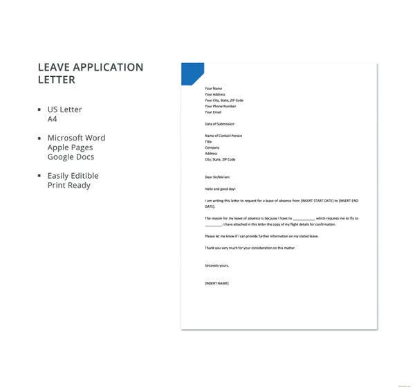 leave application letter template