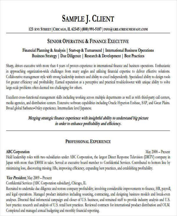 mba finance executive resume1