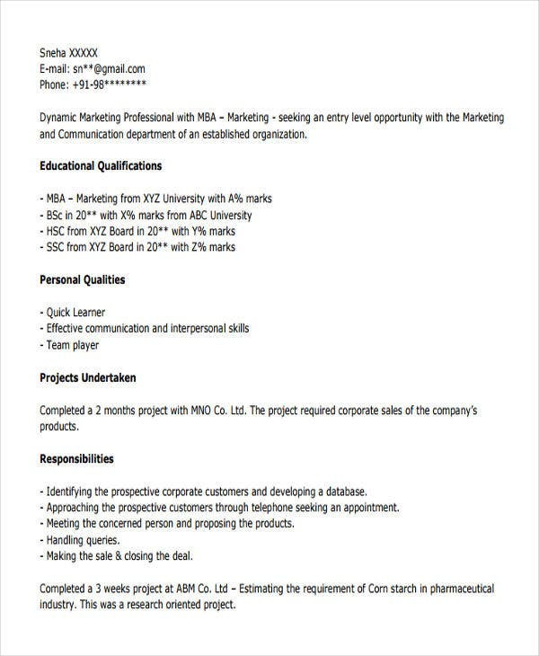 mba marketing resume - solarfm.tk