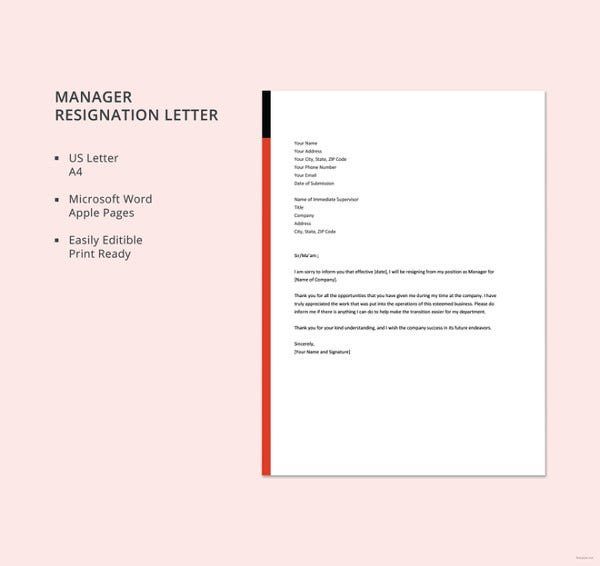 manager resignation letter template