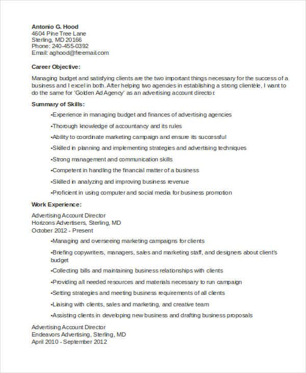 marketing account director resume3