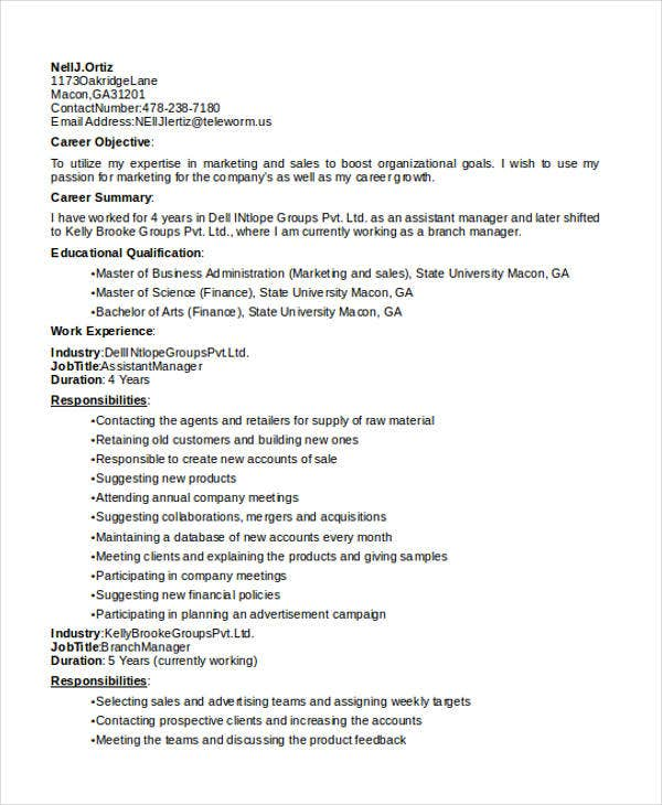 marketing account executive resume13