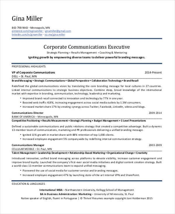 Marketing Communication Executive Resume  Marketing Communications Resume